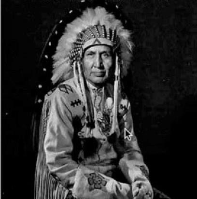 Miistatosomitai (aka Crow Flag, aka Mike Mountain Horse), the son of Mountain Horse and Sikski - Blackfoot (Kainai) - circa 1950