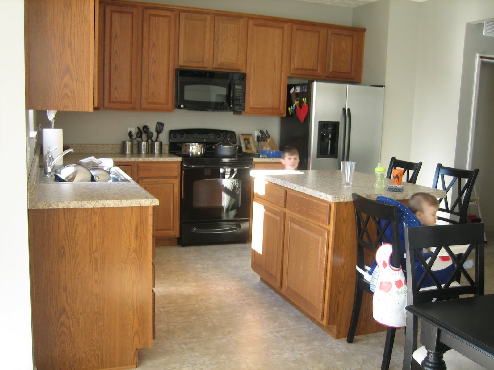 Kitchen Quartz Countertops With Oak Cabinets Kitchen