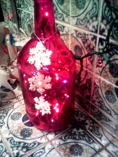 Diy Christmas drecration with wine bottles