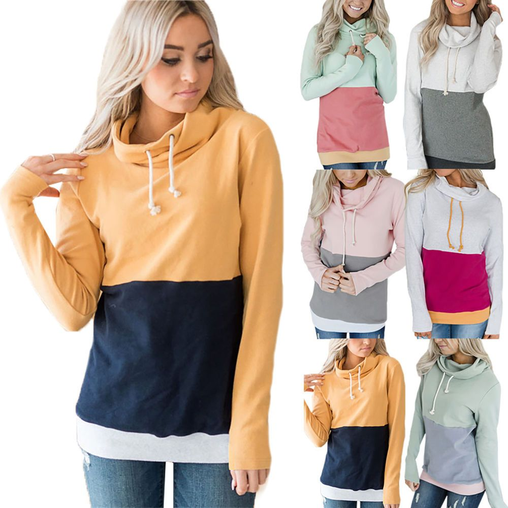 b9ad2811154 Womens Cowl Neck Sweatshirt Hoodies Casual Pullover Jumper Blouse Plus Size  US  fashion  clothing  shoes  accessories  womensclothing  activewear  ad  (ebay ...