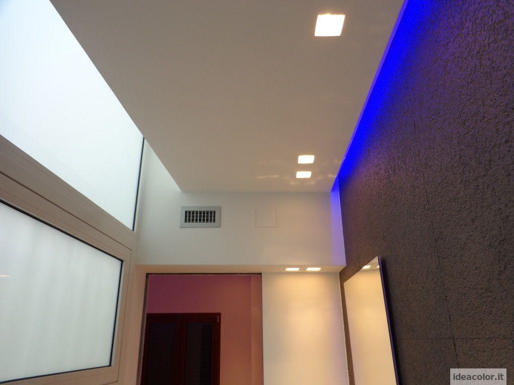Cartongesso e led illuminazione moderna for Illuminazione con faretti a led