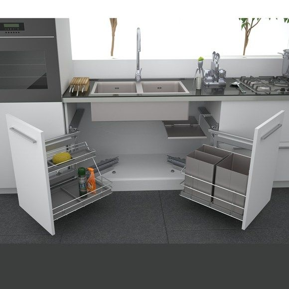Kitchen Appliances Under Sink Cabinet And Double Bowl White Cast