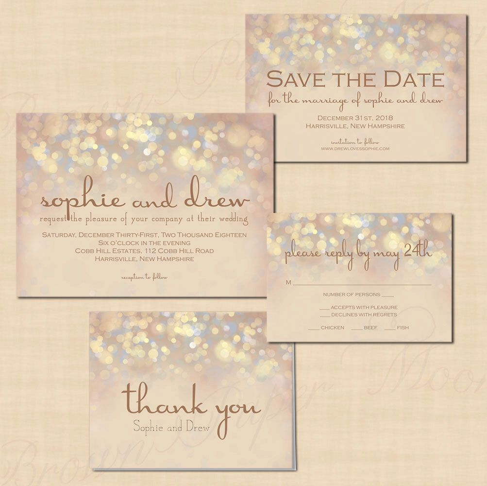 French Champagne Sparkles Text-Editable Save the Date, Wedding ...