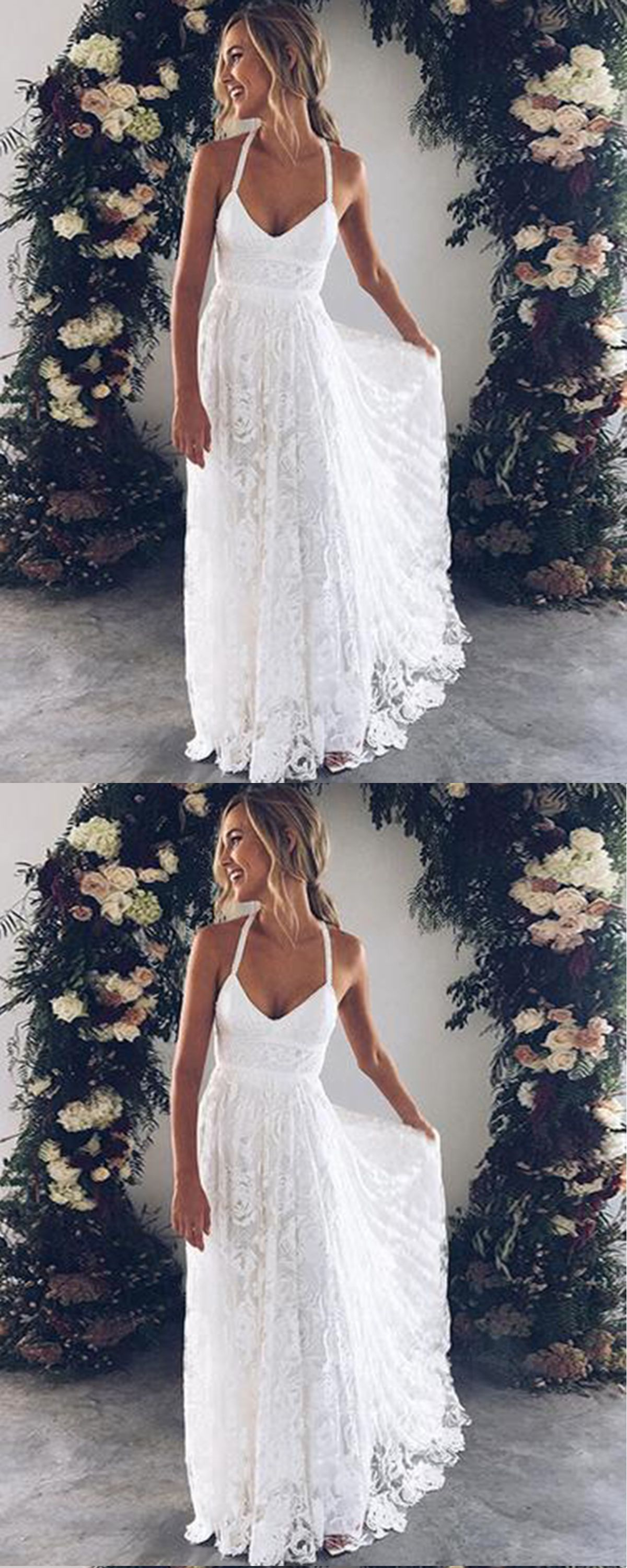 White flower lace v neck long summer beach prom dress long open