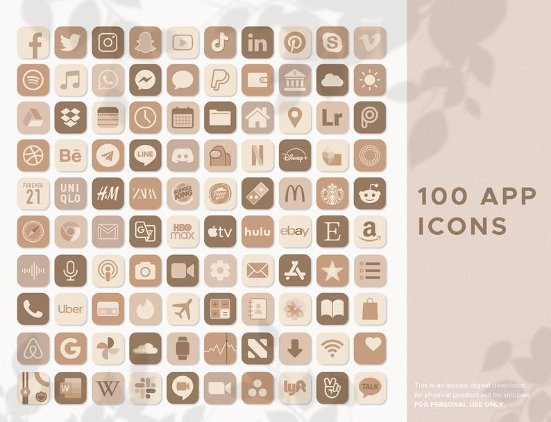 Neutral Boho iOS14 App Icons | 100 JPG App Icons |
