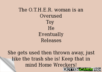 Rottenecards The O T H E R Woman Is An Overused Toy He Eventually Releases She Gets Used The Home Wrecker Home Quotes And Sayings Quotes About Homewreckers