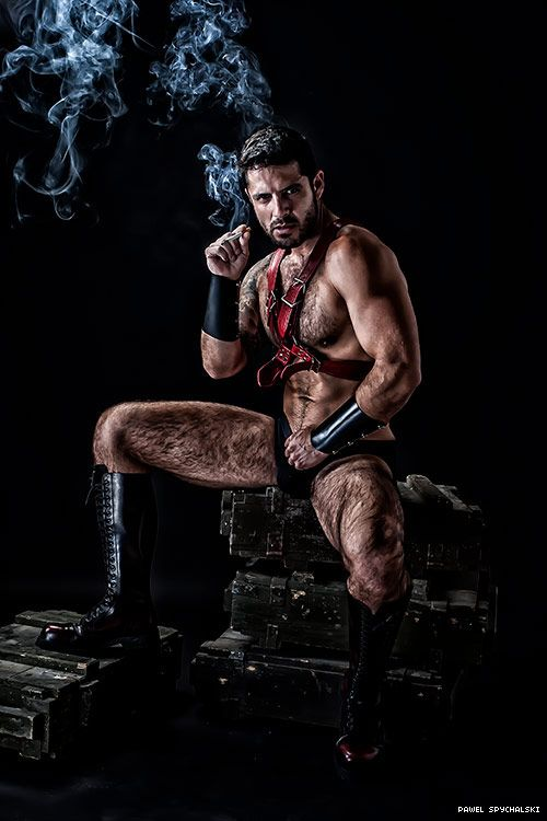 Shirtless hunks smoking