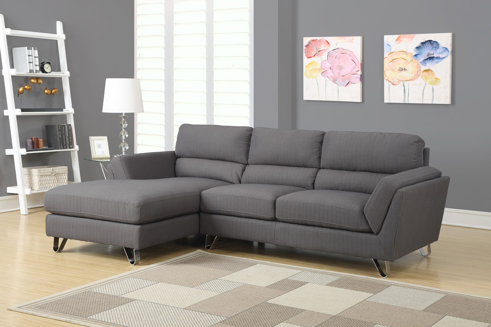 Sofa de repos en tissu gris fonc charcoal gray linen for Leon divan sectionnel
