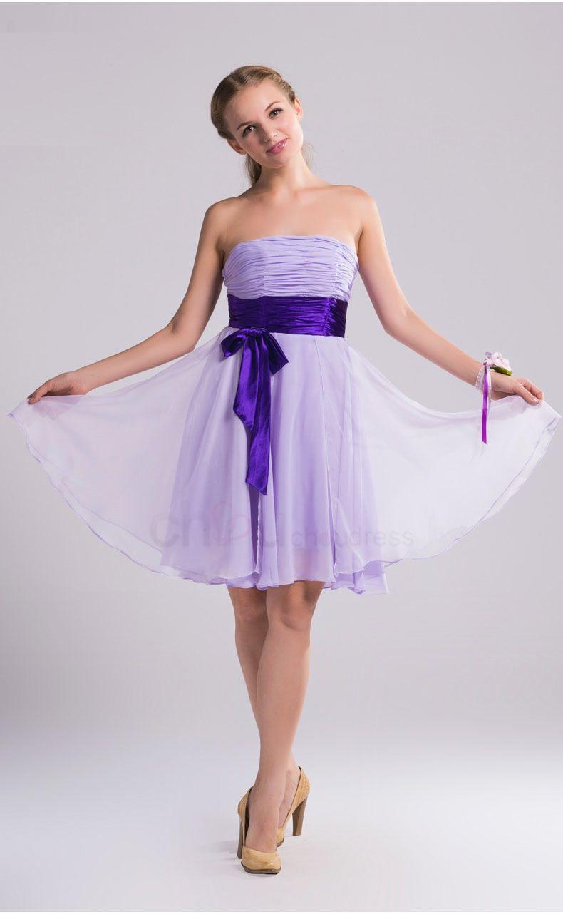 Light Purple Bridesmaid Dresses Elegant Short Simple Chiffon