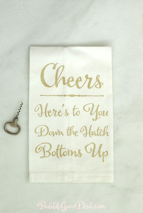 Hostess Gift Cheers Toast Bar Towel Dish Cloth Tea Towel Linen Towel ...