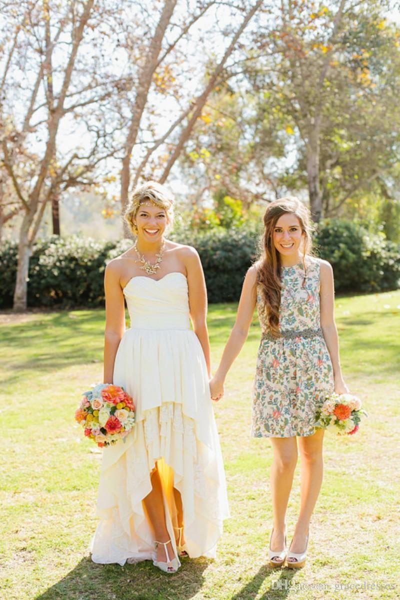 High low hemline western wedding dresses