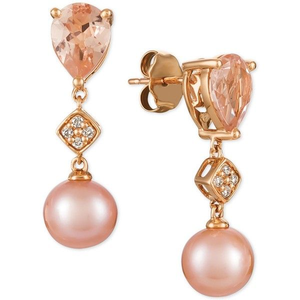 Le Vian Peach Morganite (1-1/2 ct. t.w.), Pink Cultured Freshwater... (7.520 BRL) ❤ liked on Polyvore featuring jewelry, earrings, brinco, rose gold, 14 karat gold jewelry, earring jewelry, sparkly earrings, cultured pearl drop earrings and 14k earrings
