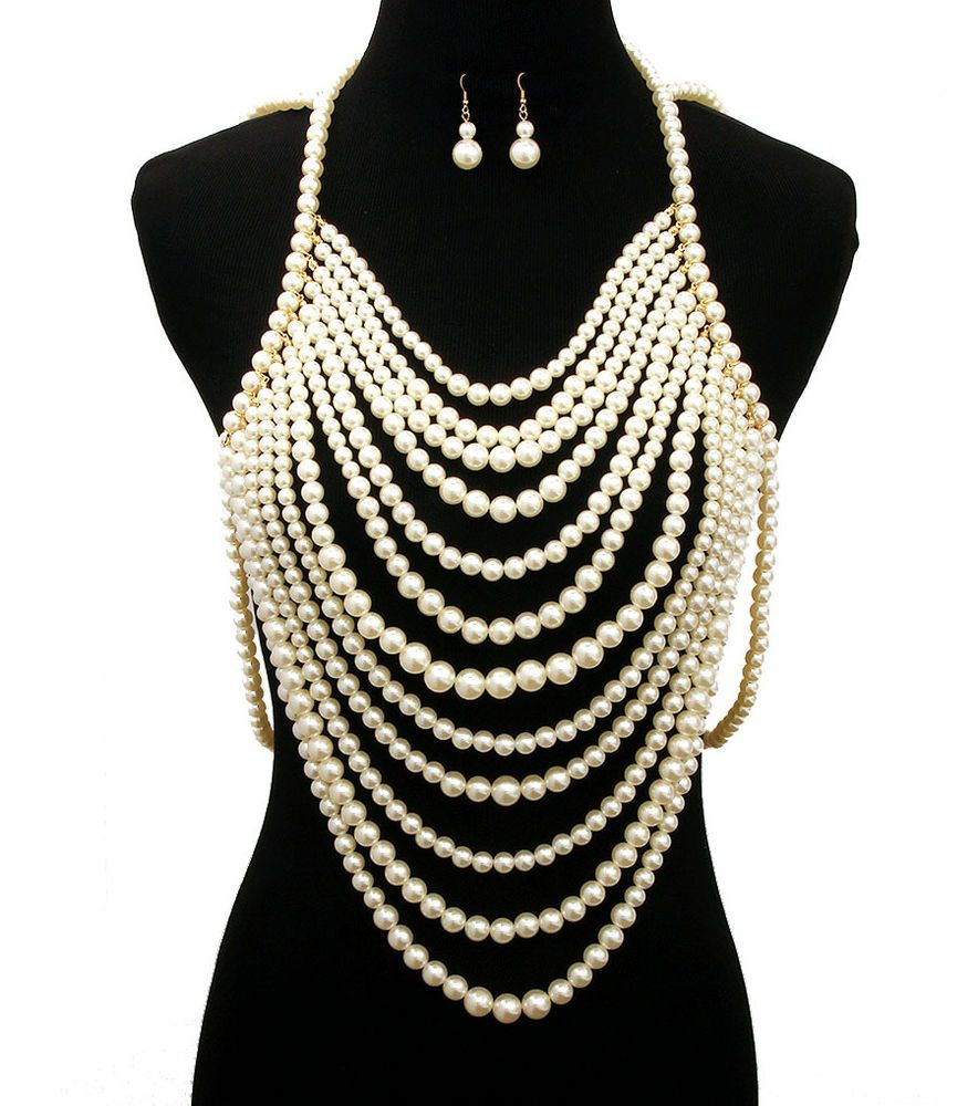 fbcc03de0 12 Multi Layer Pearl Necklace Set Pearl Body Chain Necklace and Earrings  Set #WiseJewels