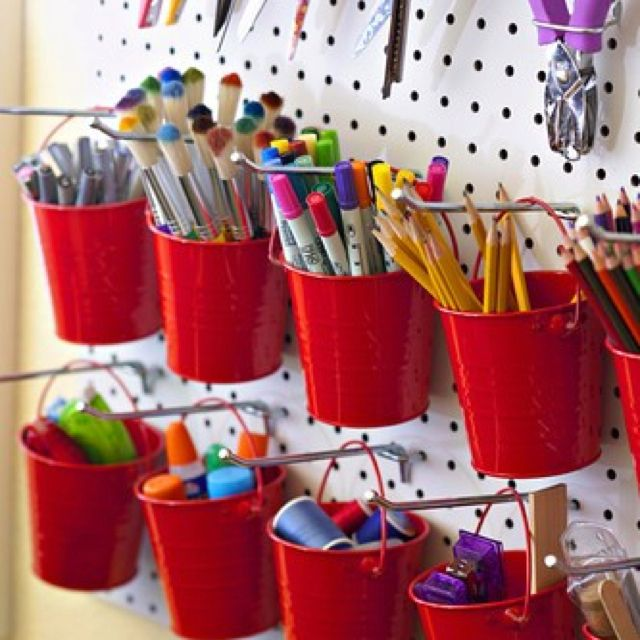 Organize markers, paints, pencils