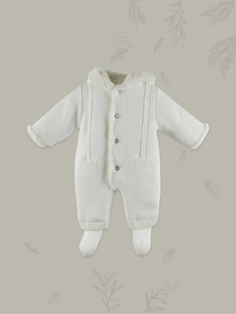 0884f2bac1c7 Newborn Ivory Cozy Winter Bunting Suit