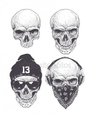 Скачать - Набор Dotwork черепа — стоковая иллюстрация ...