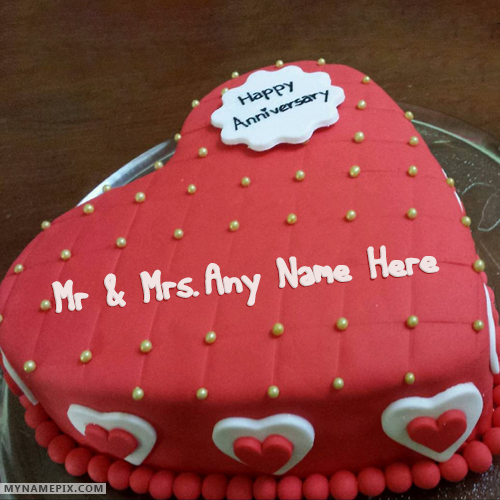 Red Velvet Cake For Happy Anniversary Wishes With Name