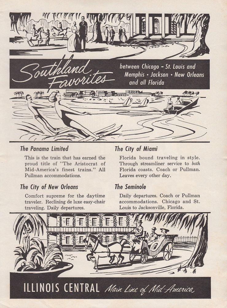 1961 illinois central railroad ad southland favorites