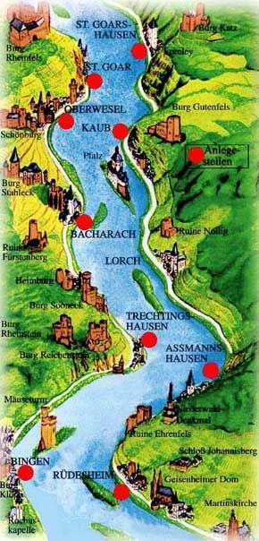Map Rhine River St Goarshausen St Goar Boat Ferry Germany Bingen - Germany map rhine