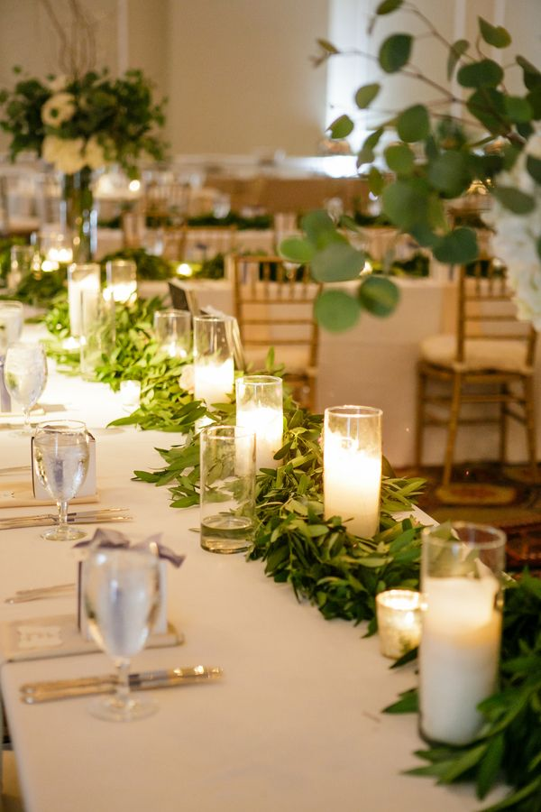 Greenery and candle table runner photography