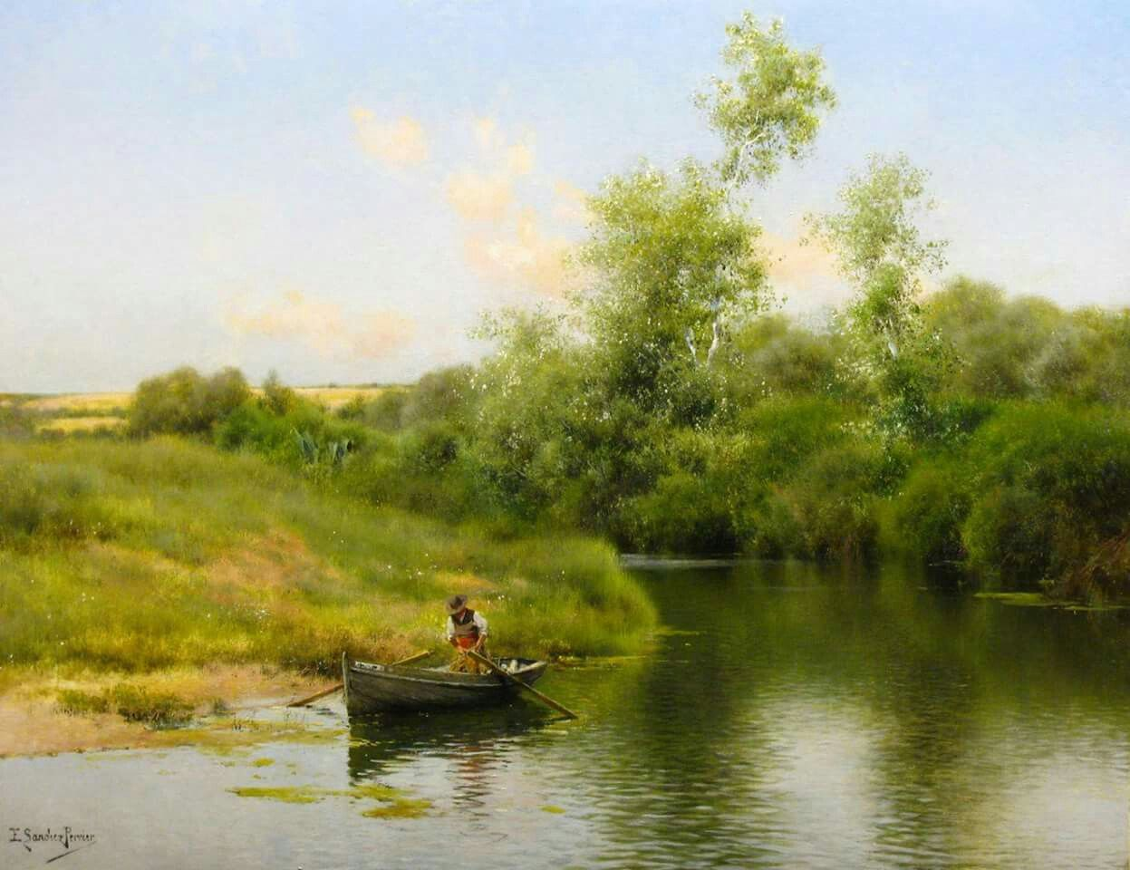 A Summer Day on the River - Emilio Sánchez-Perrier (1855-1907)