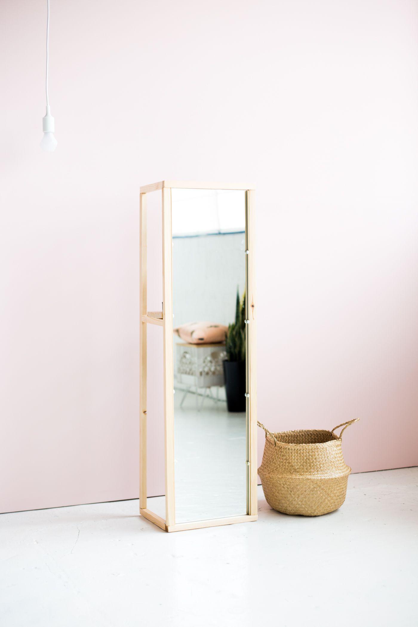 DIY Wooden Floor Standing Mirror with Useful Shelf  Craft