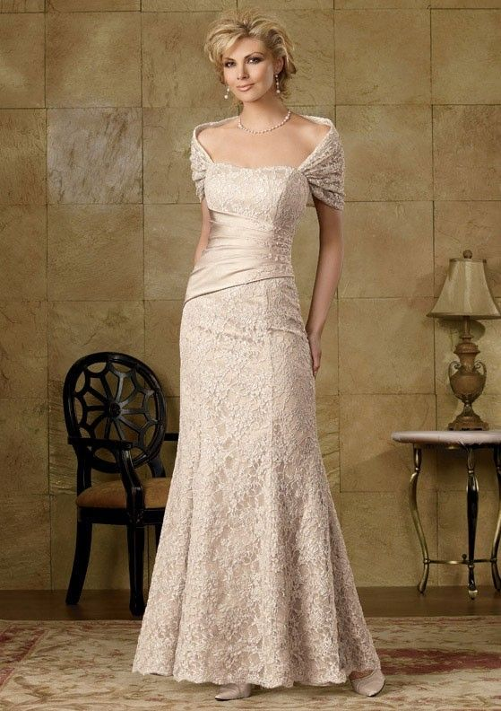 Sheath Floor Length Strapless Lace Mother Of The Bride Dresses
