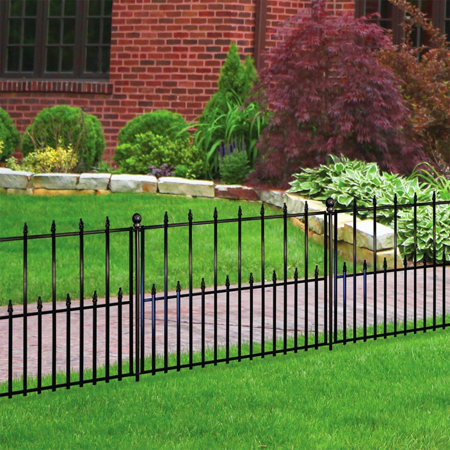 No Dig Empire Empire 2 42 Ft H X 3 15 Ft W Black Steel Pressed Point Decorative Fence Panel Lowes Com Fence Panels Steel Fence Panels Fence Landscaping