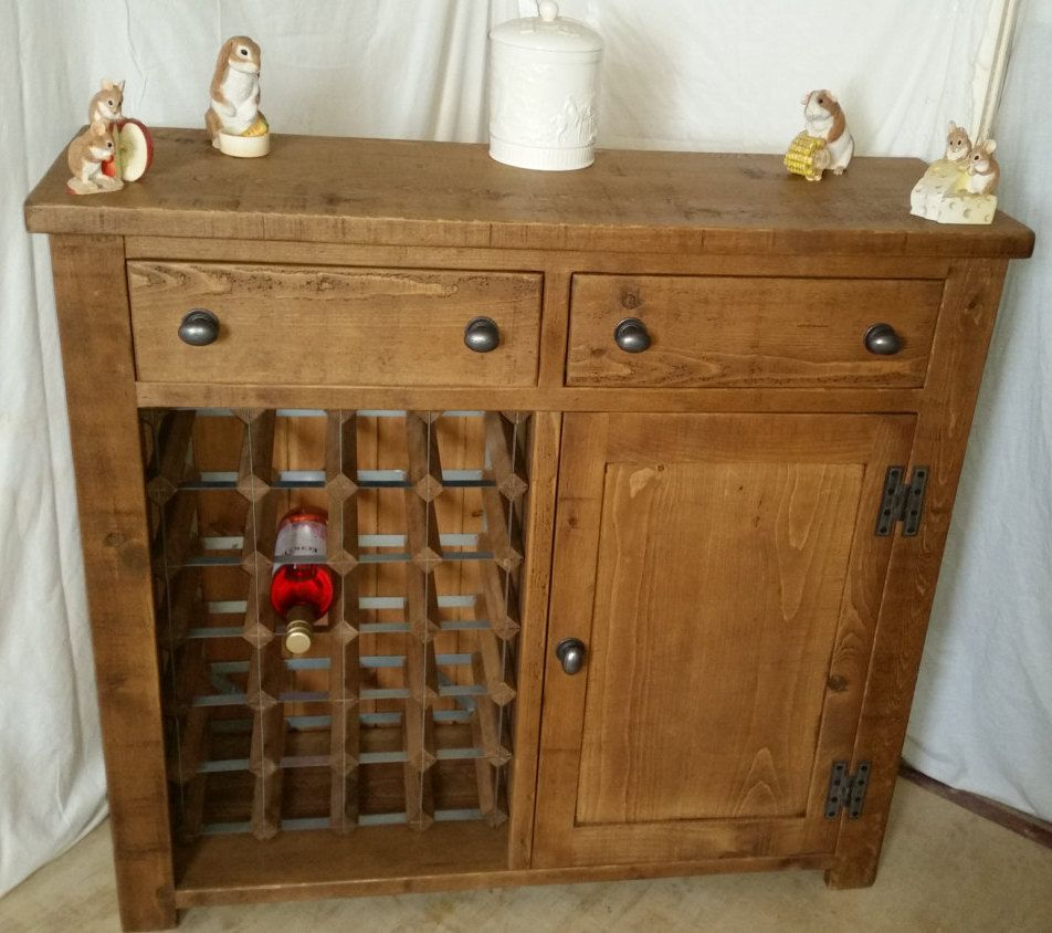 Sideboard Real Rustic Plank Furniture New Real Solid Wood Pine Winerack Sideboard