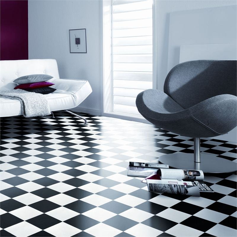 Senso Essential 3m Damier Black And White Sheet Vinyl