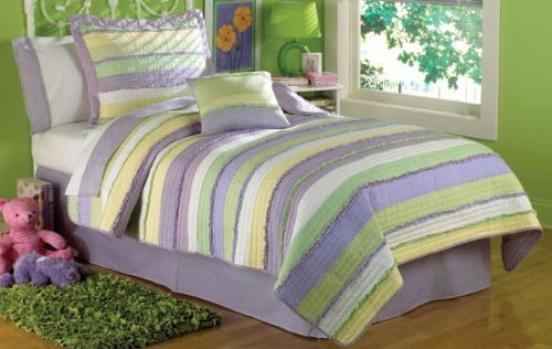 Annas Ruffle Girls Purple Striped Bedding By My World Is