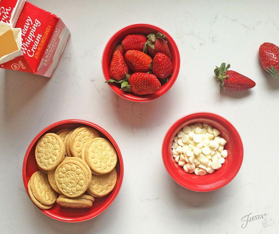 Strawberry Oreo Truffle Ingredients in Scarlet Fiesta® dinnerware | Fiesta Dinnerware, Always Festive