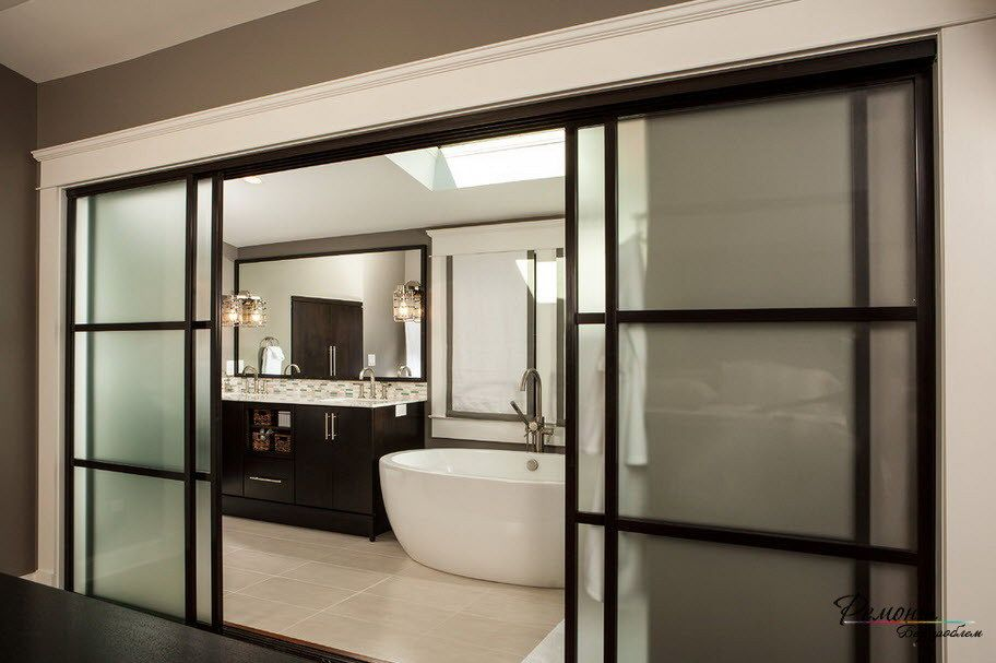 Wide Black Framed Frosted Glass Sliding Door Design For