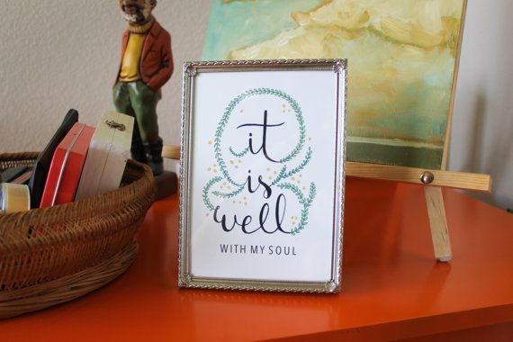 It Is Well Handlettered Quote Print by EleanorXVI on Etsy