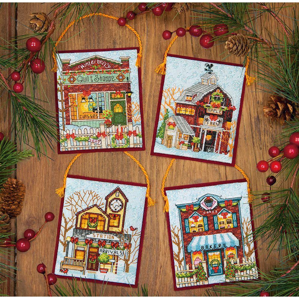 Winter Village Ornaments Dimensions Counted Cross Stitch Kit