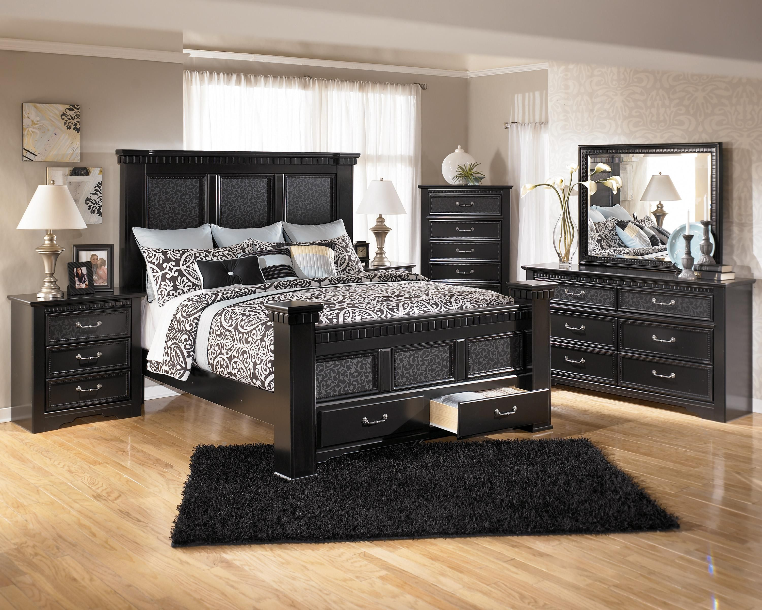 Ashley Furniture Cavallino Bedroom Set with Mansion Poster Bed Storage Footb