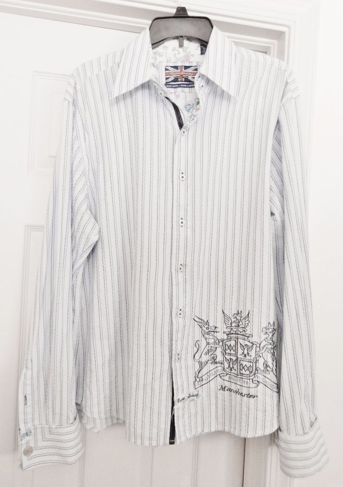 English Laundry Christopher Wicks Shirt Hand Sewn Embroidery Snap