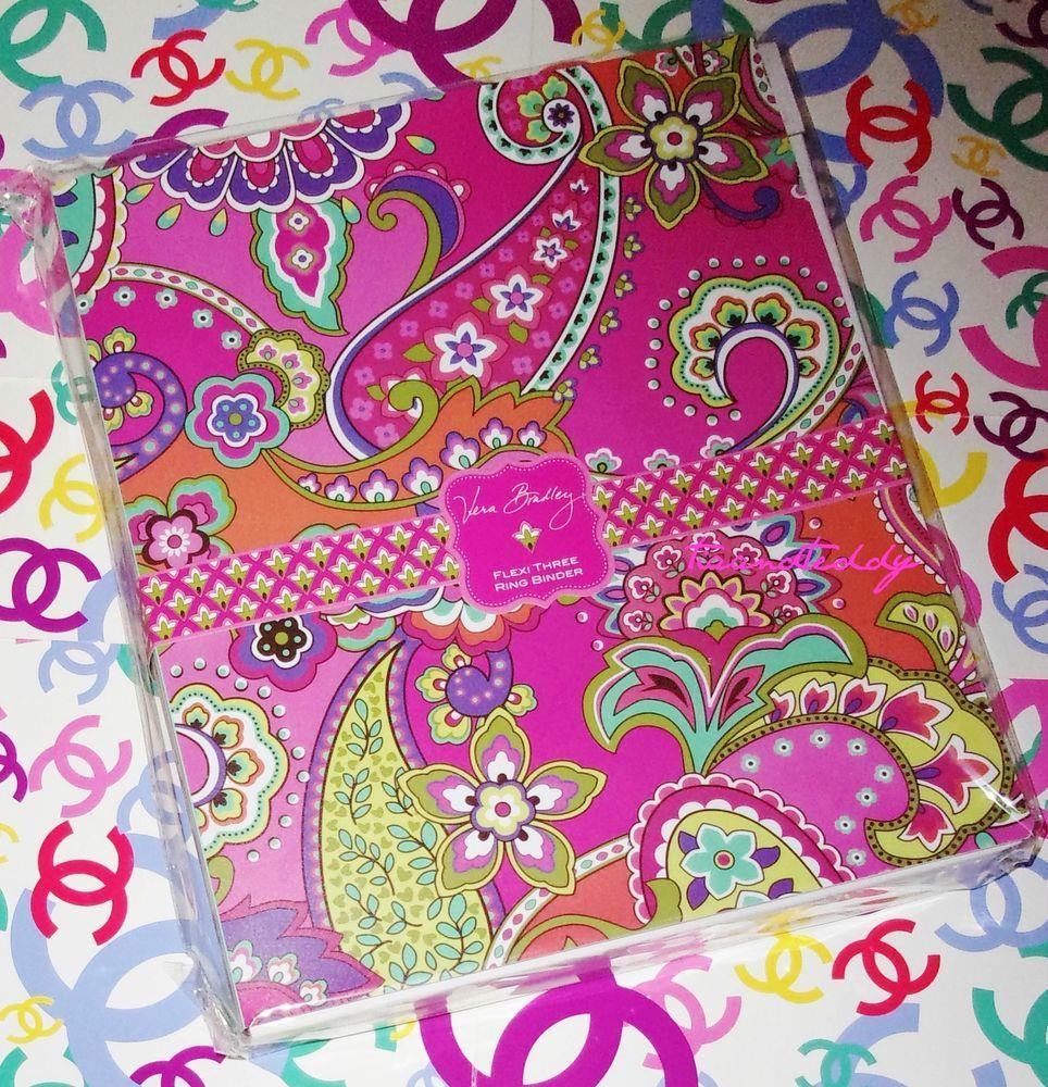 Vera Bradley Pink Swirls Flexi Three Ring Binder New