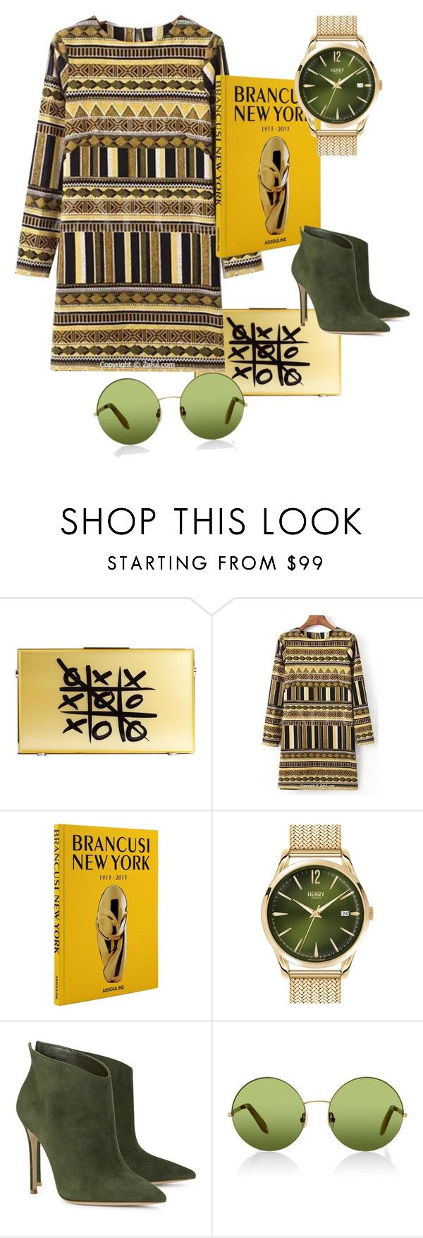 """""""Gold and Green"""" by angelakrass ❤ liked on Polyvore featuring Henry London, Gianvito Rossi and Victoria, Victoria Beckham"""