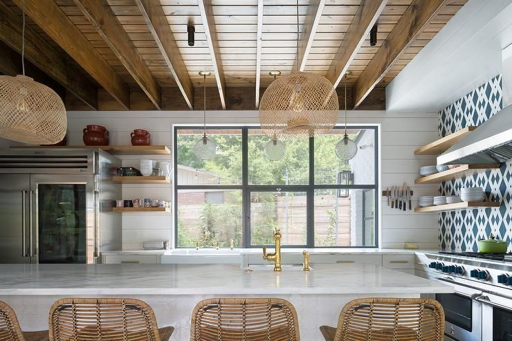 Caramel Stained Wood Plank Ceiling Adds Volume To A Kitchen Space Woodlawn Wood Plank Ceiling Home