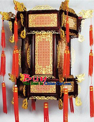 Large Traditional Chinese Hand Carved Natural Wood Palace Lantern Lanterns Wooden Lanterns Hand Carved