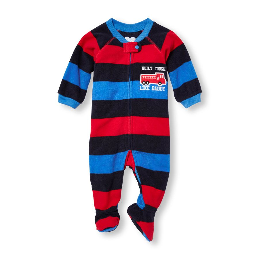 3f4c6733b7 Baby Boys Baby And Toddler Boys  Built Tough Like Daddy  Striped Blanket  Sleeper - Blue - The Children s Place