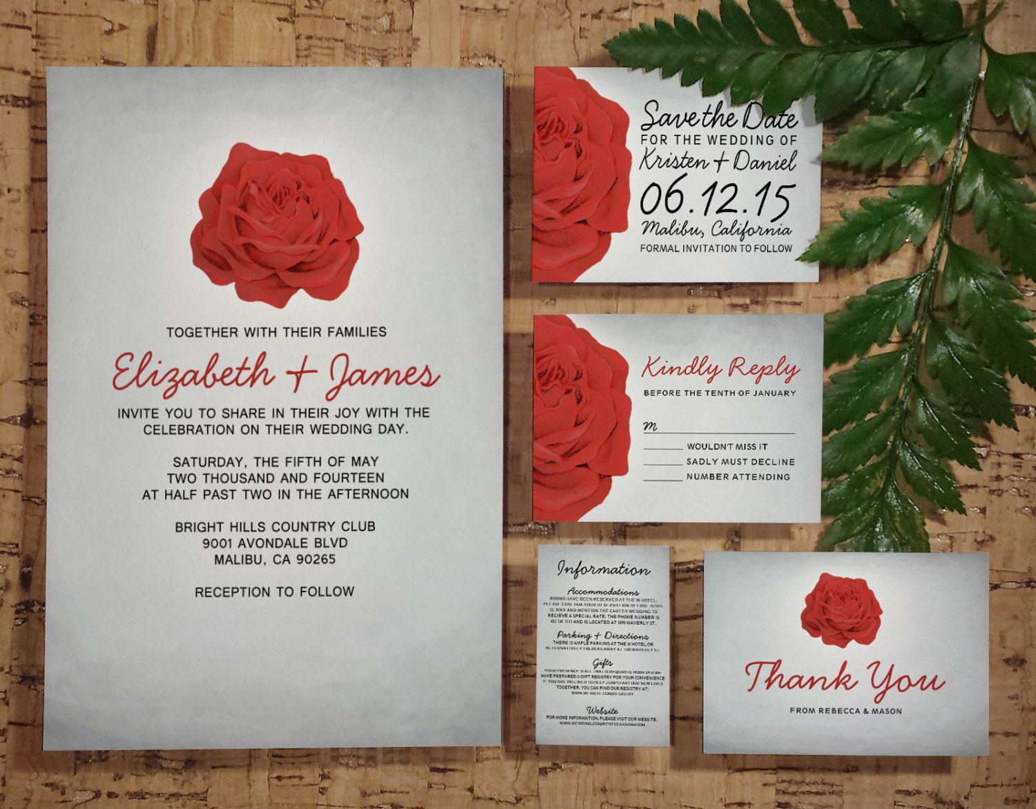 Trendy Floral Red and Black Wedding Invitation by InvitationSnob ...