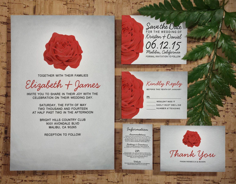 Trendy Floral Red and Black Wedding Invitation by InvitationSnob ...
