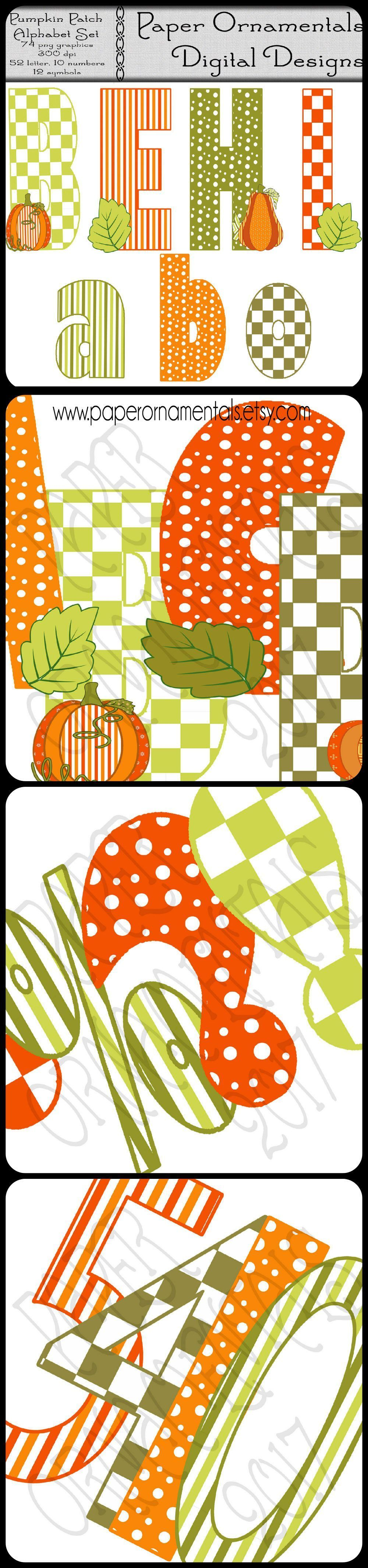 Instant Digital Download Alphabet Set, Digital Alphabet Clipart, Printable Alphabet Letters, Fall Colors, Orange And Green, Dots And Stripes #pumpkinpatchbulletinboard Looking for some cute clip art for the autumn season? This set of Pumpkin Patch alphabet ciip art is downloadable and can be used over and over again for any fall season craft or scrapbook project. They are a fun teacher resource for teachers when creating that seasonal bulletin board!  Fall colors make it just right for the seaso #pumpkinpatchbulletinboard