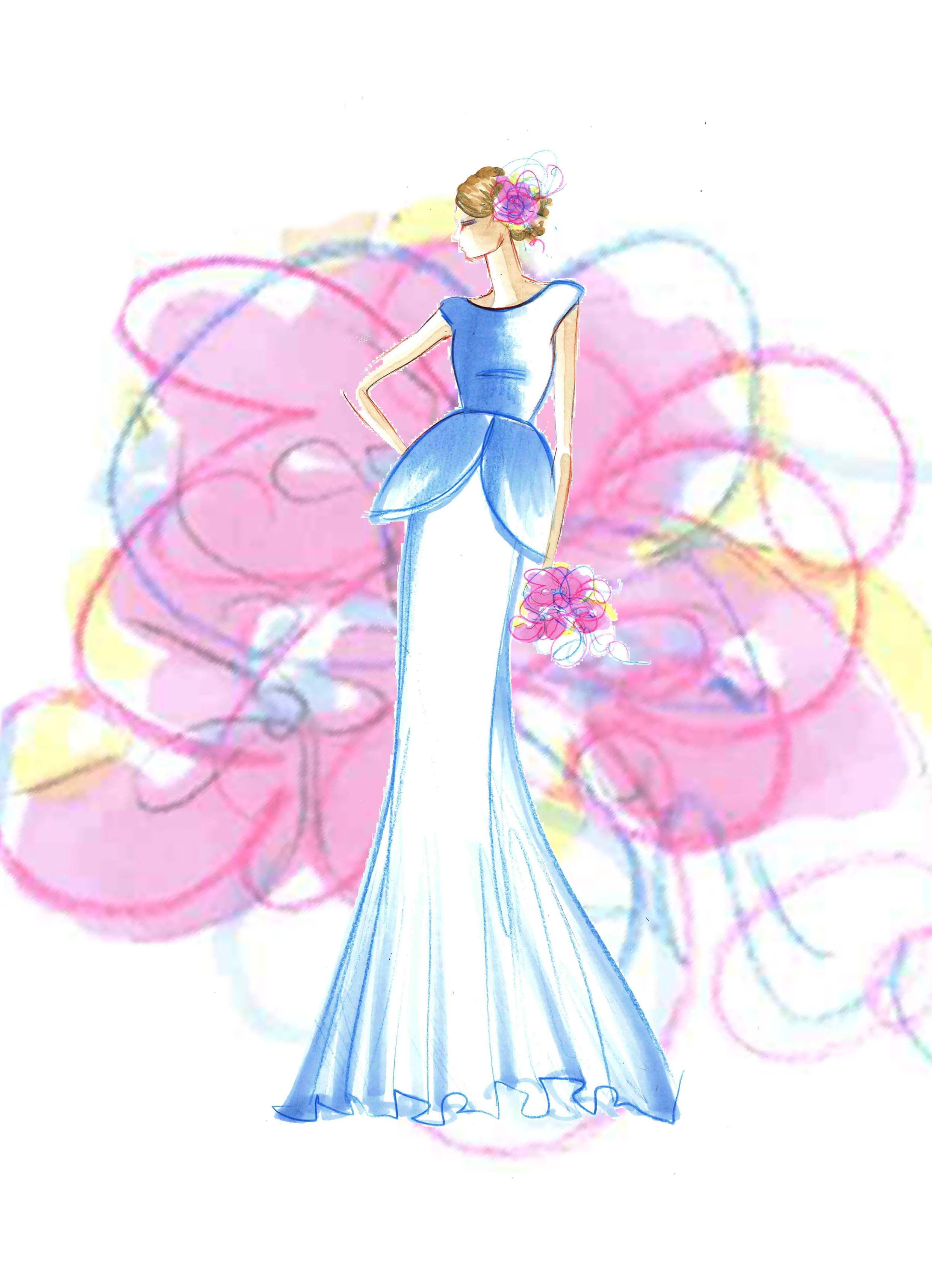abito da sposa peplo  - Mariana Cino #marianacinofashiondesigner #bride #sposa #marriage #flowers #white #springbride #peplo #fiori #pink #blue