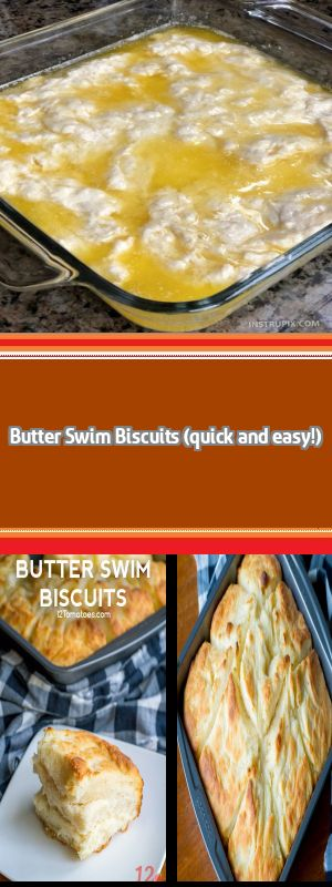 This simple homemade recipe is TO DIE FOR! The butter makes these biscuits soft and moist on the inside, with a flaky crust on the outside. Add a little jam or jelly, and you've got heaven. #butterswimbiscuits
