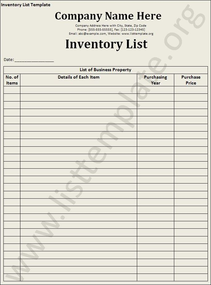 InventoryListTemplate Craft Ideas Pinterest – Inventory Checklist Template
