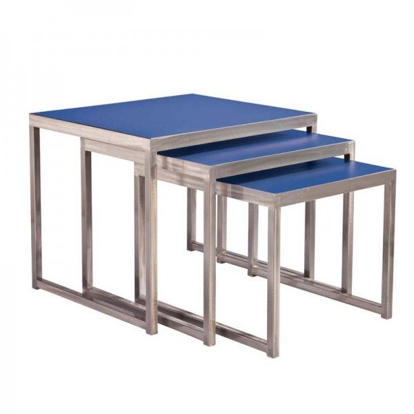 Elegant Blue Nesting End Tables