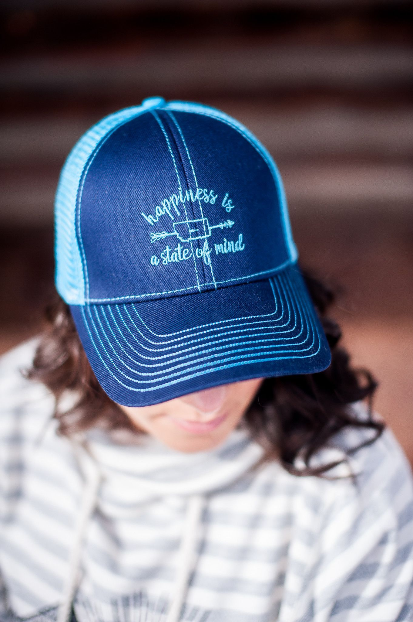 Happiness Is A State of Mind Hat in Navy/Turquoise